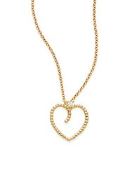 Roberto Coin Diamond And 18K Yellow Gold Heart Necklace