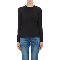 Barneys New York Women's Soft Jersey Long Sleeve T Shirt Black Blue Black Blue