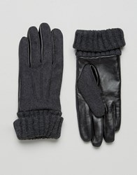 Asos Leather And Felt Gloves In Charcoal Charcoal Grey