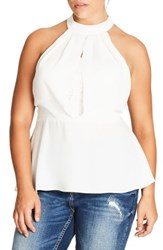 City Chic Plus Size Women's Over Shadow Peplum Top Ivory
