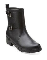 Clarks Merrian Betsy Leather Ankle Boots Black