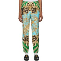 Versace Green And Blue Barocco Homme Track Pants