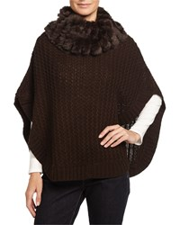 Neiman Marcus Fur Cowl Neck Knit Poncho Brown