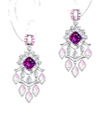 Anna Hu Haute Joaillerie Modern Art Deco Collection Chandelier Earrings In Rubellite Pink