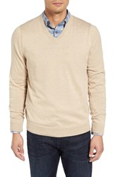 Nordstrom Men's Big And Tall Men's Shop Cotton And Cashmere V Neck Sweater Beige Hummus Heather