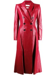 Alexander Mcqueen Double Breasted Trench Coat Red