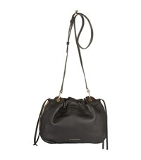 Burberry Shoes And Accessories Small Grain Leather Drawstring Bag Female Black