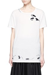 Marc Jacobs Mice Embroidered Cotton T Shirt White