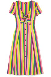Staud Alice Tie Front Striped Cotton Blend Poplin Dress Pink