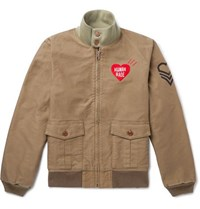 Human Made Tankers Logo Embroidered Printed Cotton Twill Bomber Jacket Neutral