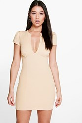 Boohoo V Neck Cap Sleeve Bodycon Dress Stone