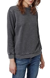 Petite Women's Topshop Supersoft Washed Sweatshirt Grey