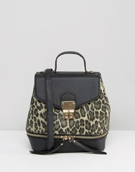 New Look Mini Animal Backpack Brown Pattern