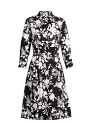 Oscar De La Renta Rosebush Print Long Sleeved Cotton Dress Black White