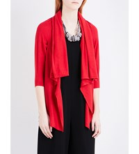 Armani Collezioni Waterfall Silk Blend Cardigan Red