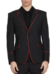 Givenchy Piped Lapel Slim Fit Sportcoat Black