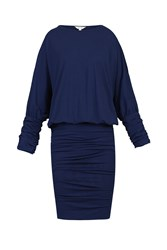 Jolie Moi Batwing Ruched Tunic Navy