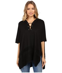 Splendid Super Soft Brushed French Terry Hooded Poncho Black Women's Clothing