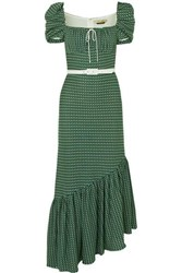 Hellessy Belted Asymmetric Crocheted Cotton Dress Green