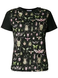 Red Valentino Insect Print T Shirt Cotton Polyamide Black