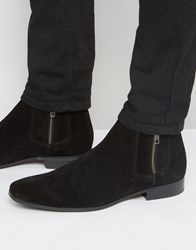 Asos Chelsea Boots In Black Suede With Contrast Elastic And Zip Detail Black