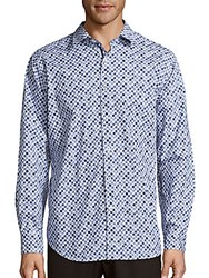 Bugatchi Circle Print Cotton Button Down Shirt Navy