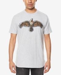 Sean John Men's Safety Pinned Crow T Shirt Ath Grey Htr