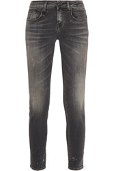 R 13 R13 Alison Distressed Low Rise Skinny Jeans Black