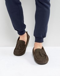 Dunlop Tassel Slippers In Brown Suede Brown