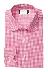 Lorenzo Uomo Check Print Trim Fit Dress Shirt Pink