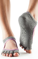 Women's Toesox 'Bella' Half Toe Gripper Socks Fishnet Storm Grey