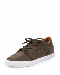 Lacoste Bayliss Perforated Trim Leather Sneaker Brown