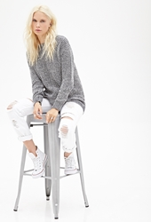 Forever 21 Marled Chunky Knit Sweater Navy Cream
