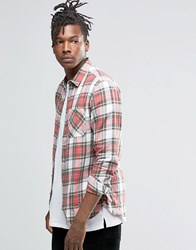 Pull And Bear Pullandbear Brushed Tartan Check Shirt In Red In Regular Fit Red