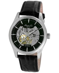 Kenneth Cole New York Men's Automatic Black Leather Strap Watch 43Mm 10027199 No Color