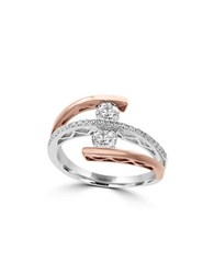 Effy Pave Rose 0.69Tcw Diamonds And 14K White Gold Tiered Ring