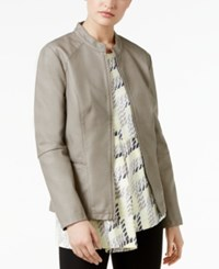Alfani Faux Leather Peplum Jacket Only At Macy's Wall Street Gray