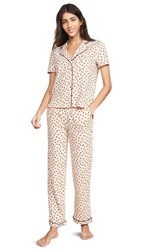 Madewell Knit Bedtime Pajama Set In Painted Hearts Bashful Blush Multi
