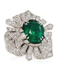 Piaget 18K White Gold Diamond And Emerald Ring