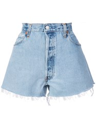 Re Done Distressed Shorts Blue