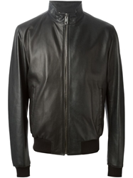 Dolce And Gabbana Leather Zip Jacket Black