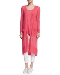 Joan Vass Long Sheer Button Front Cardigan Strawberry