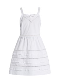Red Valentino Ladder Lace Trimmed Cotton Dress White