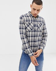 D Struct Twin Pocket Tartan Flannel Shirt Navy Stone