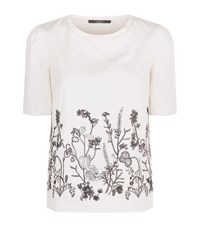 Max Mara Weekend Ondine Embroidered Front Jersey Back T Shirt Female Black