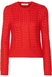 Valentino Cable Knit Cashmere Sweater Red