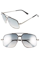 Women's Tom Ford 'Ronnie' 60Mm Aviator Sunglasses Shiny Black Green Mirror Regular Retail Price 405.00