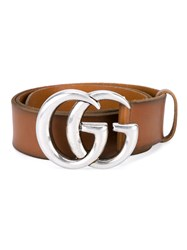 Gucci Leather Logo Belt Brown Silver