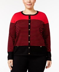 Karen Scott Plus Size Striped Cardigan Only At Macy's New Red Amore Combo