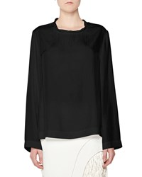 Tom Ford Twisted Neck Oversized Long Sleeve Tee Black